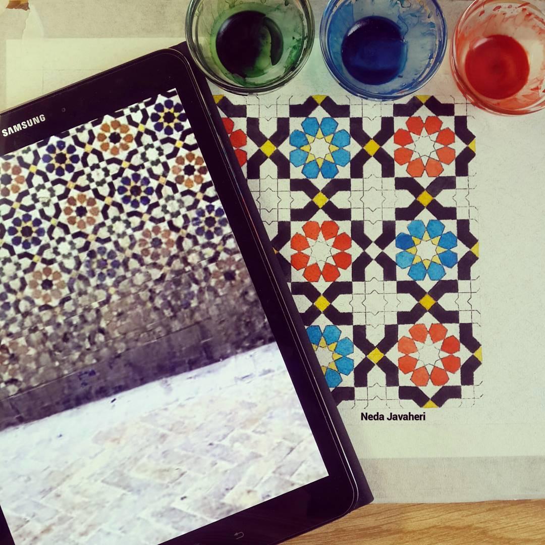 Karya Kaligrafi . مراحل رنگ آمیزی دومین گره از مجموعه معرفی گره های غیرایرانی. گره هشت مراکشی.  …- Ne Javaher