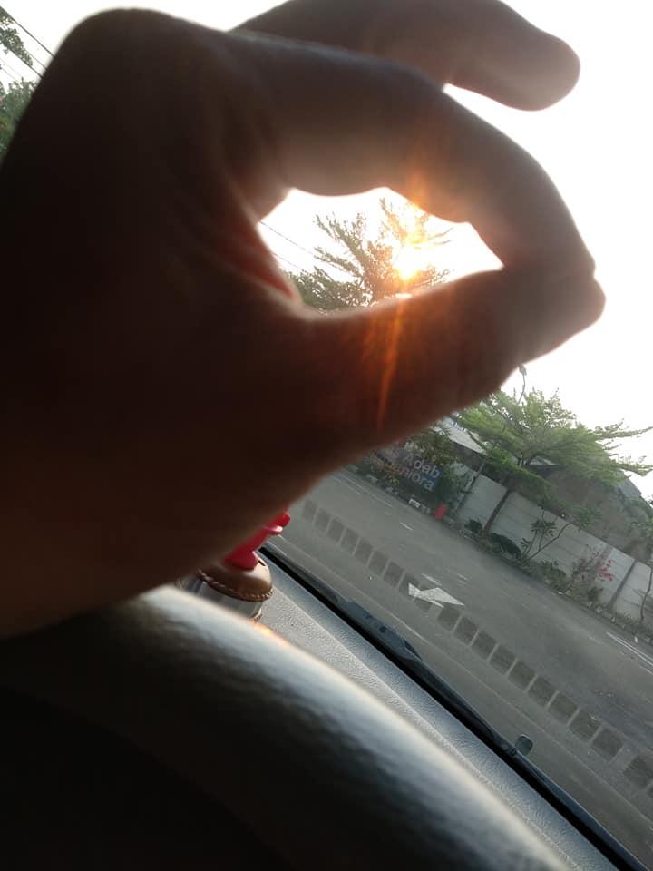 Sinar matahari senja di antara lingkar jari-jari tangan dan rerimbun dedaunan. (...