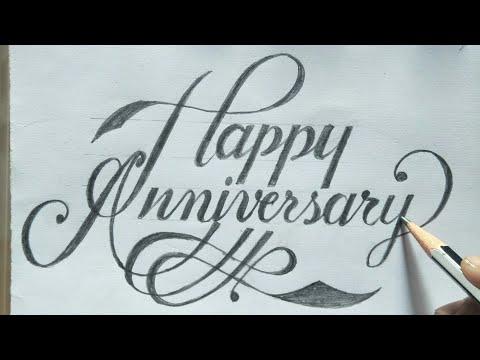 Download Video Calligraphy-How to make happy anniversary gift card| How to write happy anniversary |@RUAsignwriting