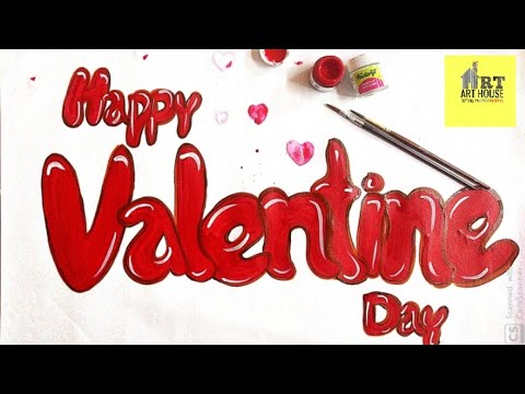 Download Video Valentine's day calligraphy, how to make valentine's day poster design,MERA ART HOUSE (VIKAS SHARMA)