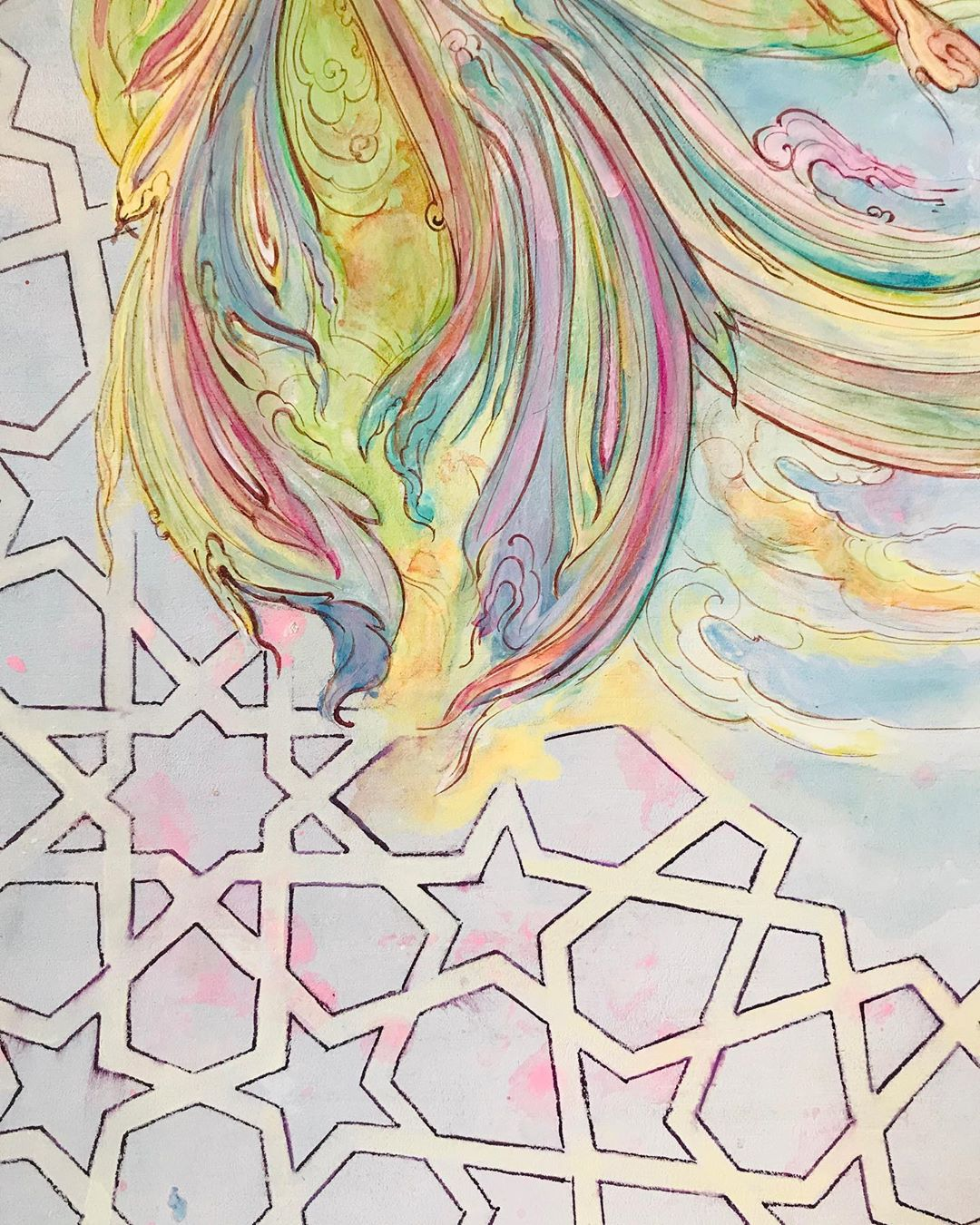 Karya Kaligrafi Detail!… Coming soon! ای خوش آن روز که پرواز کنم تا برِ دوست به  هوای سر کویش …- Ne Javaher