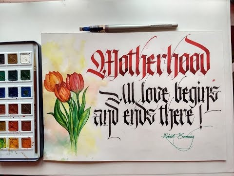 Download Video Mother's Day Modern Calligraphy Fraktur and Watercolor Flowers