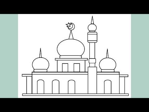 Download Video Koleksi Gambar Sketsa Masjid sederhana sebagai media Belajar Mewarnai Gambar