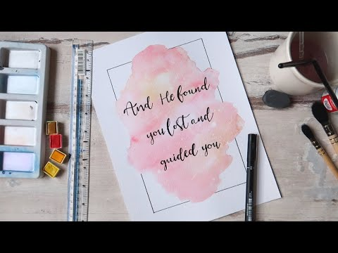 Download Video How To: Easy Watercolour Background And Calligraphy | QalbCalligraphy