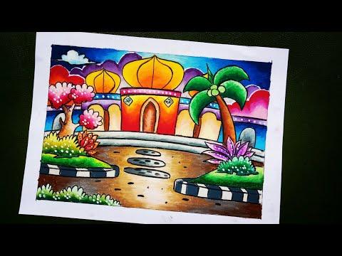 Download Video Cara Mewarnai Gambar Masjid Menggunakan Oil Pastel dan Crayon_By Mozqi Art