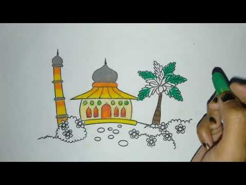 Download Video Cara mewarnai gambar masjid