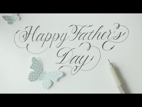 Download Video how to write in calligraphy (fancy) happy father´s day (normal black pen) – easy way