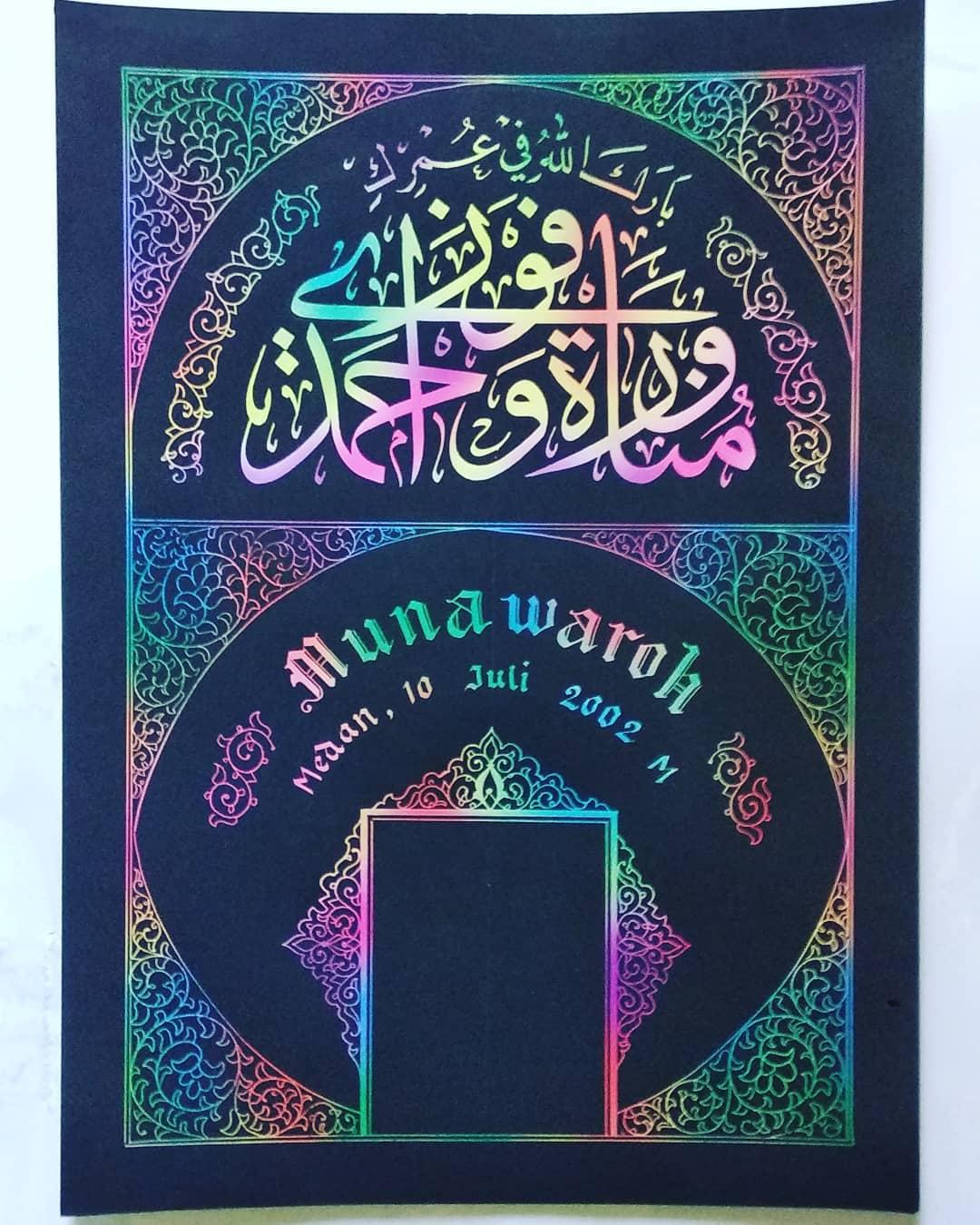Works Calligraphy Taufik Hasibuan Jasa tulis kaligrafi nama…  -sayang anak -pasangan -ultah -pernikahan, dll Mi… 18