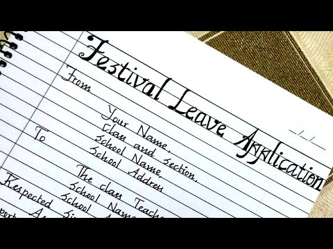Download Video Leave Letter-Festival Leave Application/Letter writing/Handwriting/Letter writing format/Calligraphy