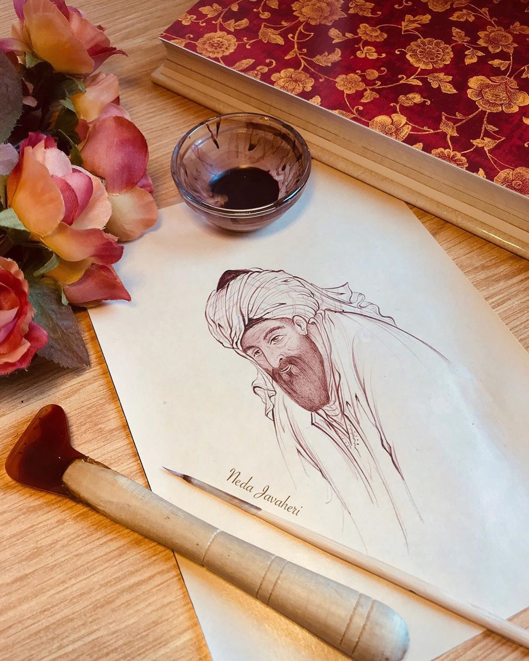 Karya Kaligrafi  در خواب دوش پیری در کوی عشق دیدم با دست اشارتم کرد که عزم سوی ما کن گر اژدهاست …- Ne Javaher