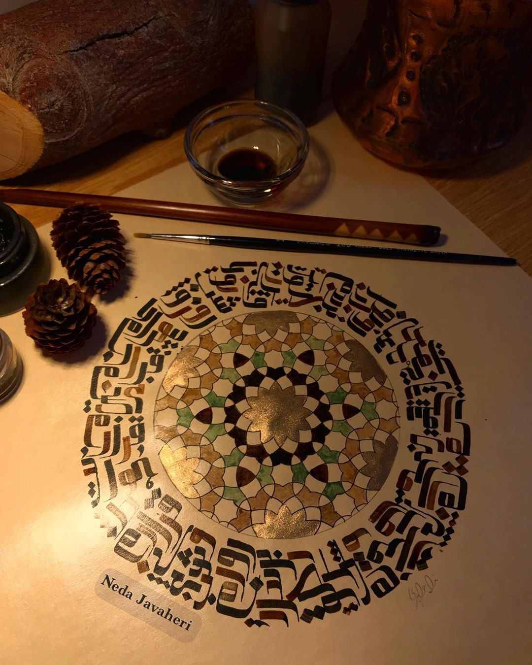 Karya Kaligrafi  در هوایت بی قرارم… بیقرارم روز و شب…. مولانا (متن نوشتار) . . . اجرا،  مرکب…- Ne Javaher