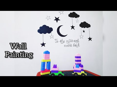 Download Video Night Sky Wall painting | Easy wall decor ideas | Simple Calligraphy tutorial