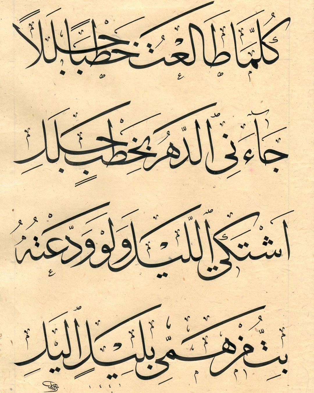Professional Calligrapher Bijar Arbilly Calligraphy  يسعد صباحكم… من اشعار إيليا ابو ماضي #calligraphy #kunst #art #tehran #istanbu… 418