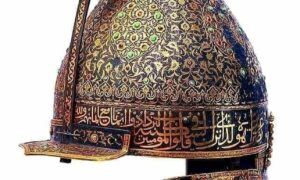 Download Parade helmet Ottoman era mid 16th century made from iron, gold  turquoise ruby ... 1