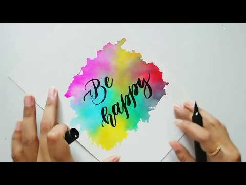 Download Video Easy watercolor background and calligraphy tutorial for beginners | Art and lettering