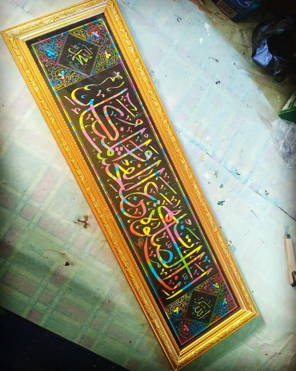Works Calligraphy Taufik Hasibuan Minat chat me…   #kertas pelangi #80×20 cm… 68