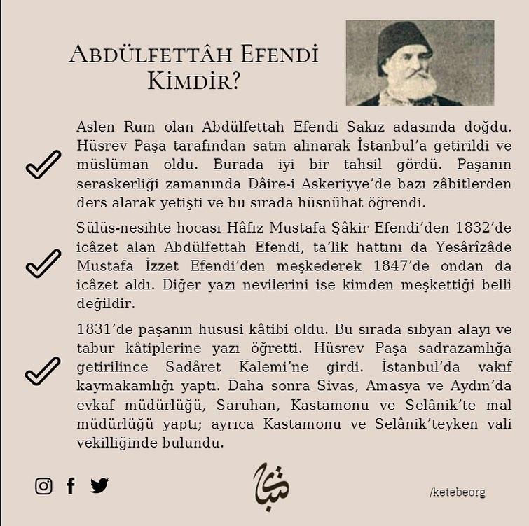 Apk Website For Arabic Calligraphy Vefatının 124. sene-i devriyesinde Hattat Abdülfettâh Efendi'yi rahmet ve minnet... 382 2