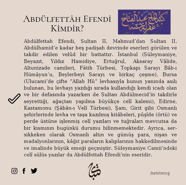 Apk Website For Arabic Calligraphy Vefatının 124. sene-i devriyesinde Hattat Abdülfettâh Efendi'yi rahmet ve minnet... 382 4