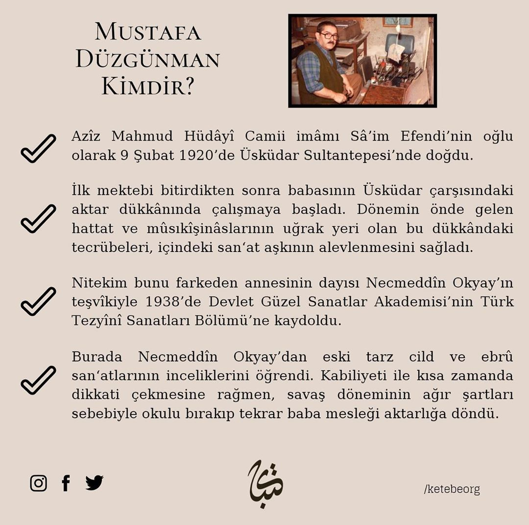 Apk Website For Arabic Calligraphy Vefatının 30. sene-i devriyesinde Ebrû üstadı Mustafa Düzgünman Beyefendi'yi rah... 382 2