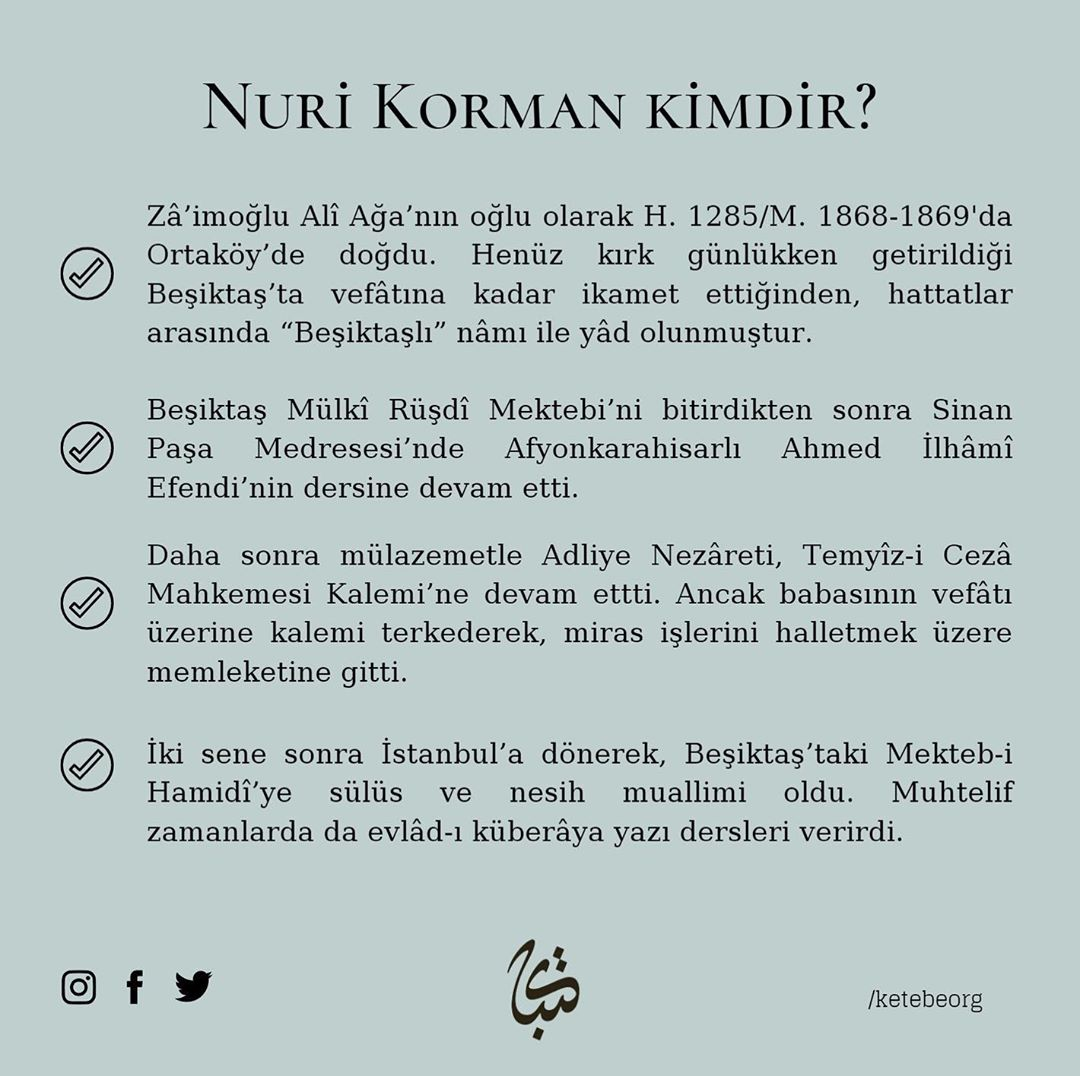Apk Website For Arabic Calligraphy Vefatının 69. sene-i devriyesinde Beşiktaşlı Hattat Hacı Nuri Korman Beyefendi'y... 238 2