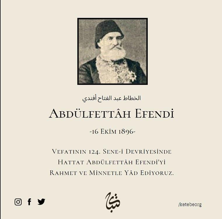 Apk Website For Arabic Calligraphy Vefatının 124. sene-i devriyesinde Hattat Abdülfettâh Efendi'yi rahmet ve minnet... 382 1