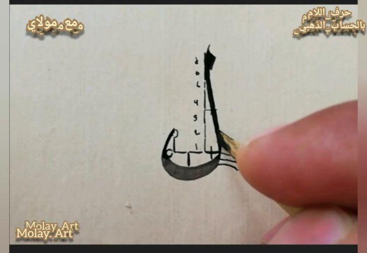 Arabic Calligraphy by Maulay Abdur Rahman  حرف اللام في خط النسخ تكملة لدروس (( الحساب الذهبي))... 493 1