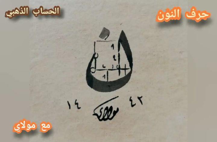 Arabic Calligraphy by Maulay Abdur Rahman  حرف النون في خط النسخ بطريقة ( الحساب الذهبي للخط العربي)... 332 1