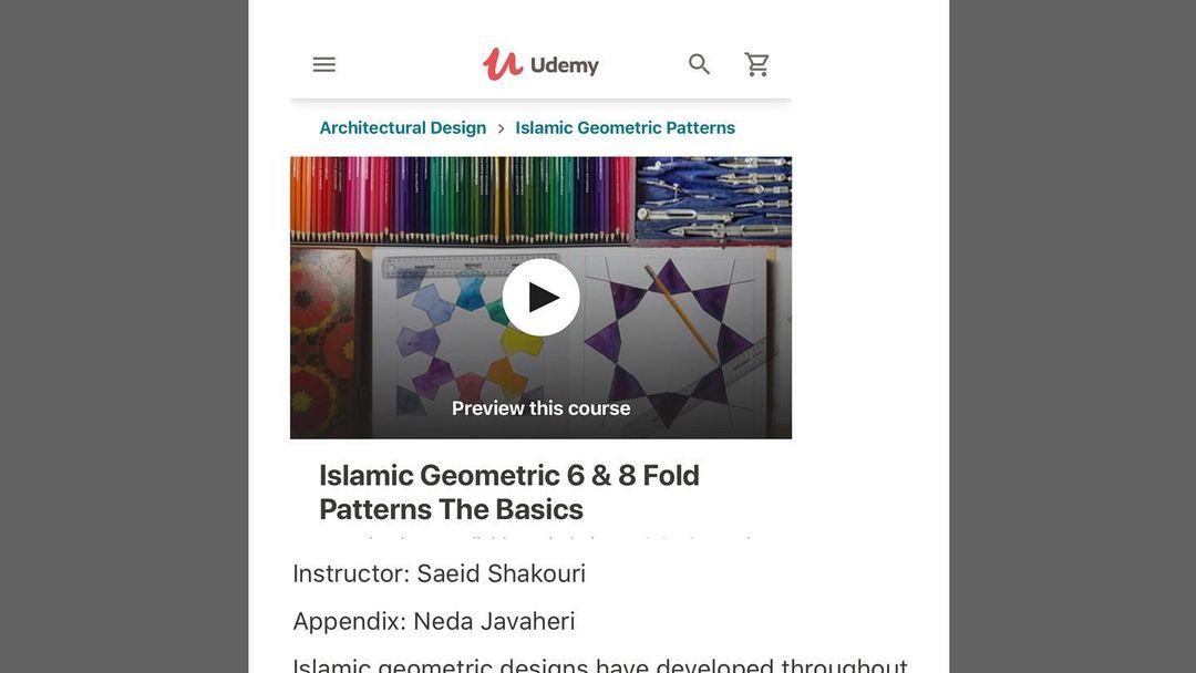 Karya Kaligrafi The first Udemy course title:  Islamic Geometric 6 & 8 Fold Patterns The Basics ...- Ne Javaher 1