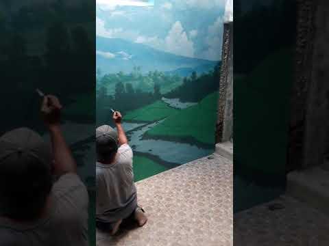 """Download Video Lukis dinding mural """"pemandangan sawah dan gunung"""" proses"""