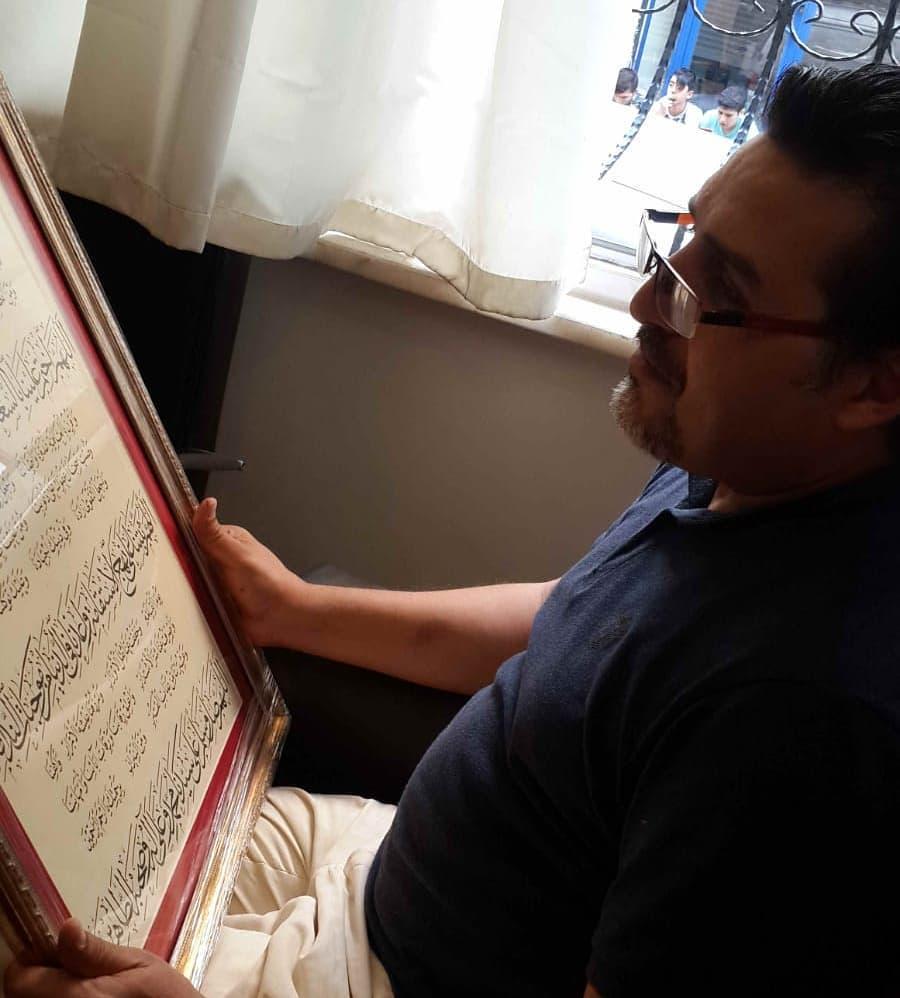 khat/hat/kat Tsulust/Thuluth Mothana Alobaydi مع عمل لي كتبته قبل ١٨ عام استنبول مكتب تلميذي محمد قطيفاني... 315 1