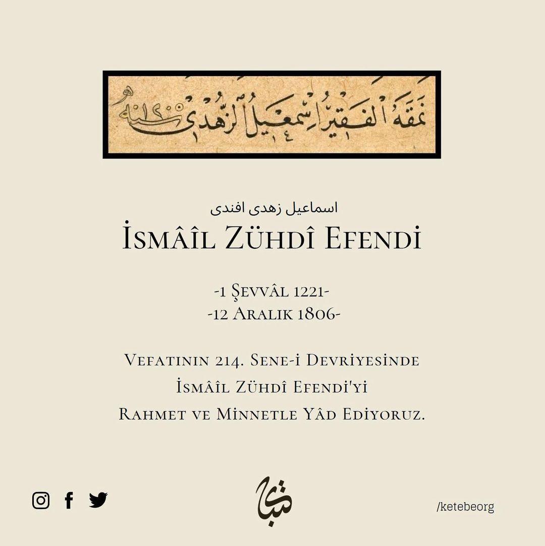 Apk Website For Arabic Calligraphy Vefatının 214. sene-i devriyesinde, Hattat İsmâîl Zühdî Efendi'yi rahmet ve minn… 536