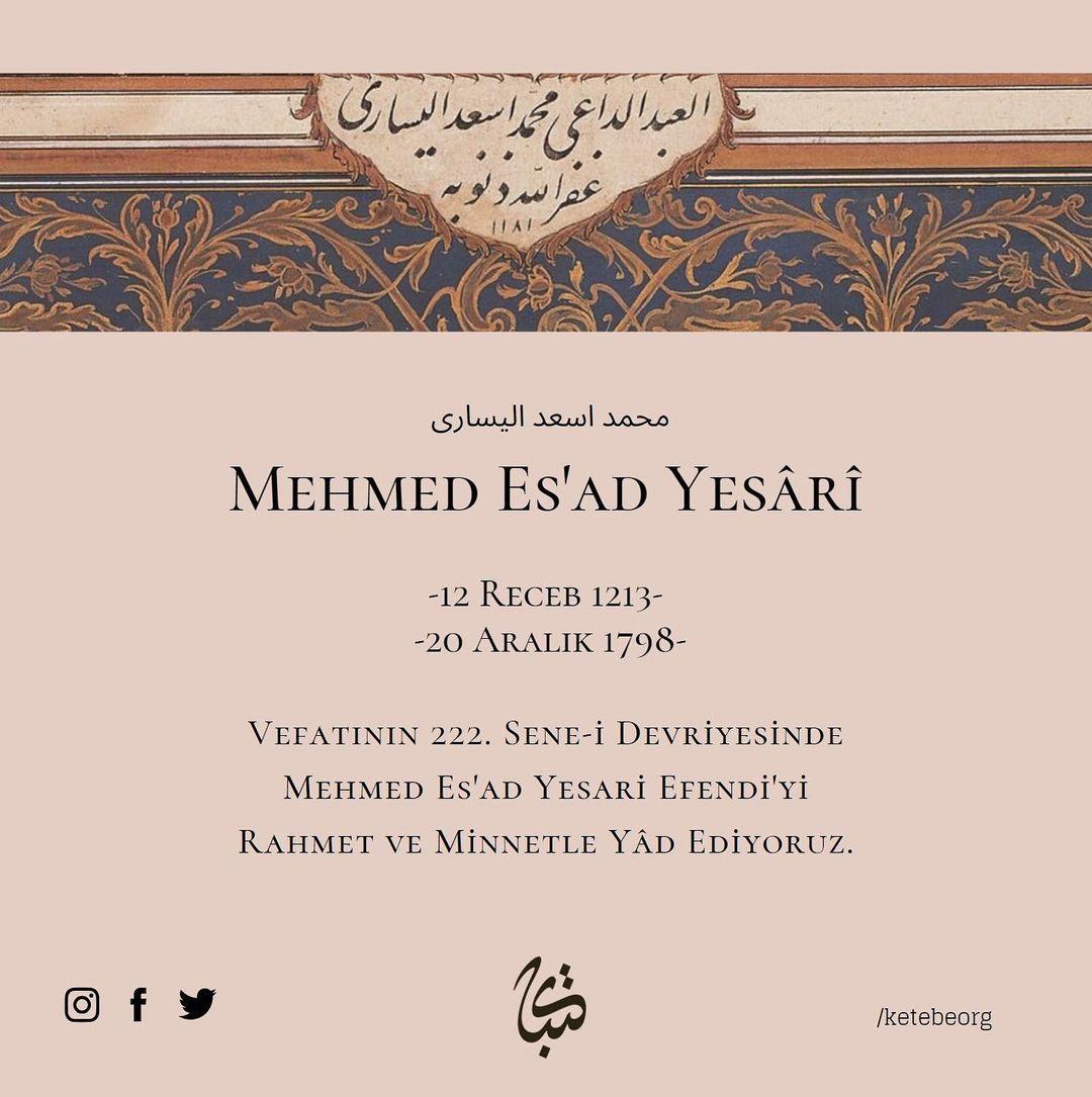 Apk Website For Arabic Calligraphy Vefatının 222. sene-i devriyesinde Mehmed Es'ad Yesârî Efendi'yi rahmet ve minne… 478