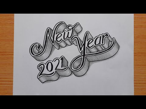 Download Video 3d Drawing Calligraphy Happy New Year 2021 For Beginners / How To Write Art On Paper / Draw Easy