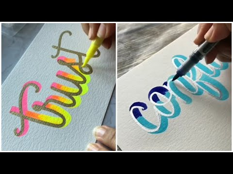Download Video Amazing calligraphy lettering with the help of a brush gel pen and marker #1