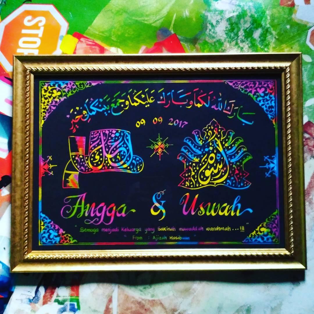 Works Calligraphy Taufik Hasibuan Next order…. Kado nikahan…   #bulang mandailing  #kertas pelangi… 38