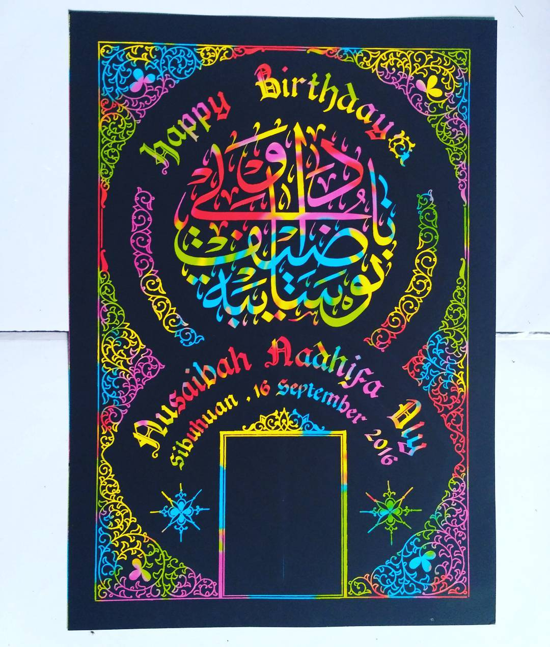 Works Calligraphy Taufik Hasibuan Next order….   Yg minat silahkan merapat.. #Kertas pelangi #ultah dll… … 32