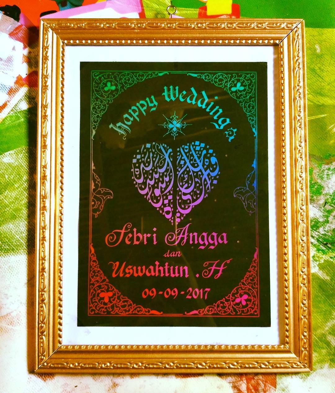 Works Calligraphy Taufik Hasibuan Next order….  #kertas pelangi #tempahan nama… Harga ekonomis insya allah…… 32