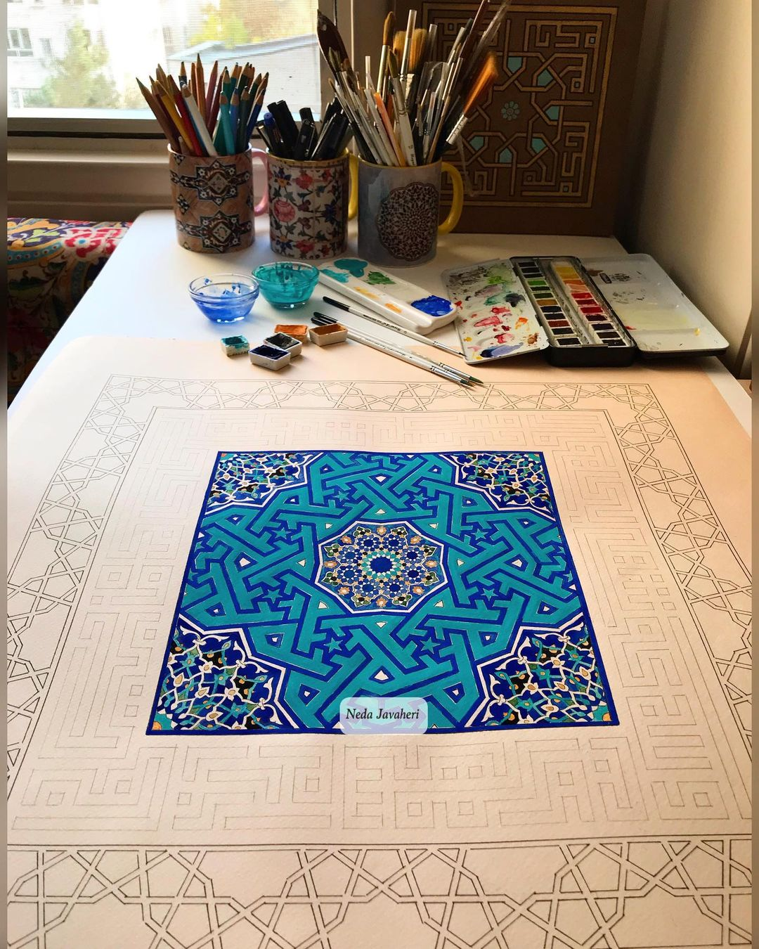 Karya Kaligrafi  ای در دل من میل و تمنا همه تو واندر سر من مایهٔ سودا همه تو هر چند  به روی کار …- Ne Javaher