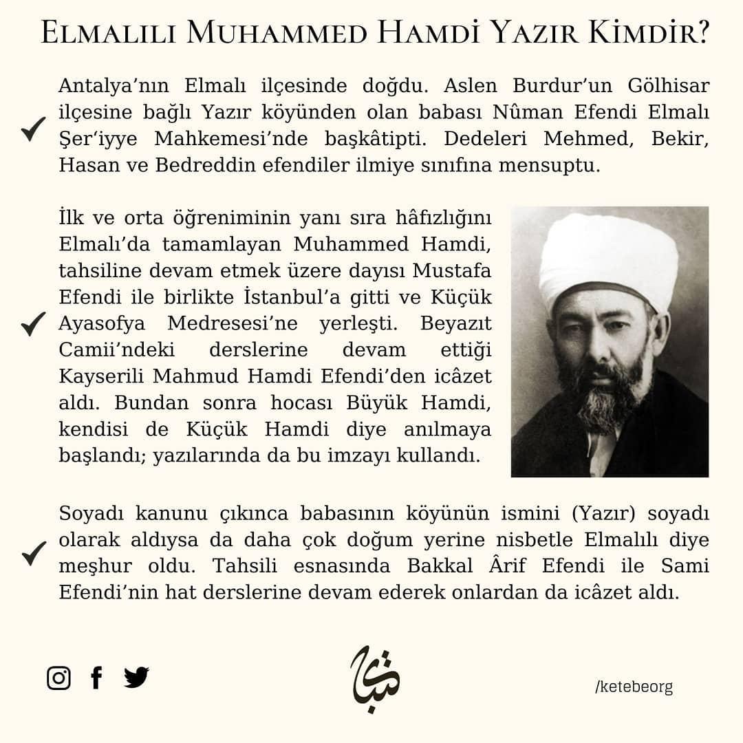 Apk Website For Arabic Calligraphy Büyük Türk müfessiri ve hattat Elmalılı Muhammed Hamdi Yazır Hocamızı, vefatının... 300 2