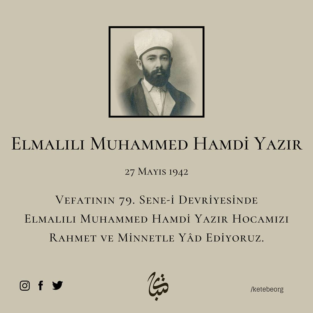 Apk Website For Arabic Calligraphy Büyük Türk müfessiri ve hattat Elmalılı Muhammed Hamdi Yazır Hocamızı, vefatının... 300 1