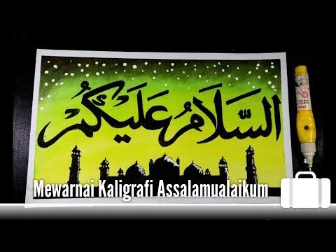 Download Video How to write and color Assalamualaikum calligraphy for beginners, Cara mewarnai kaligrafi sederhana