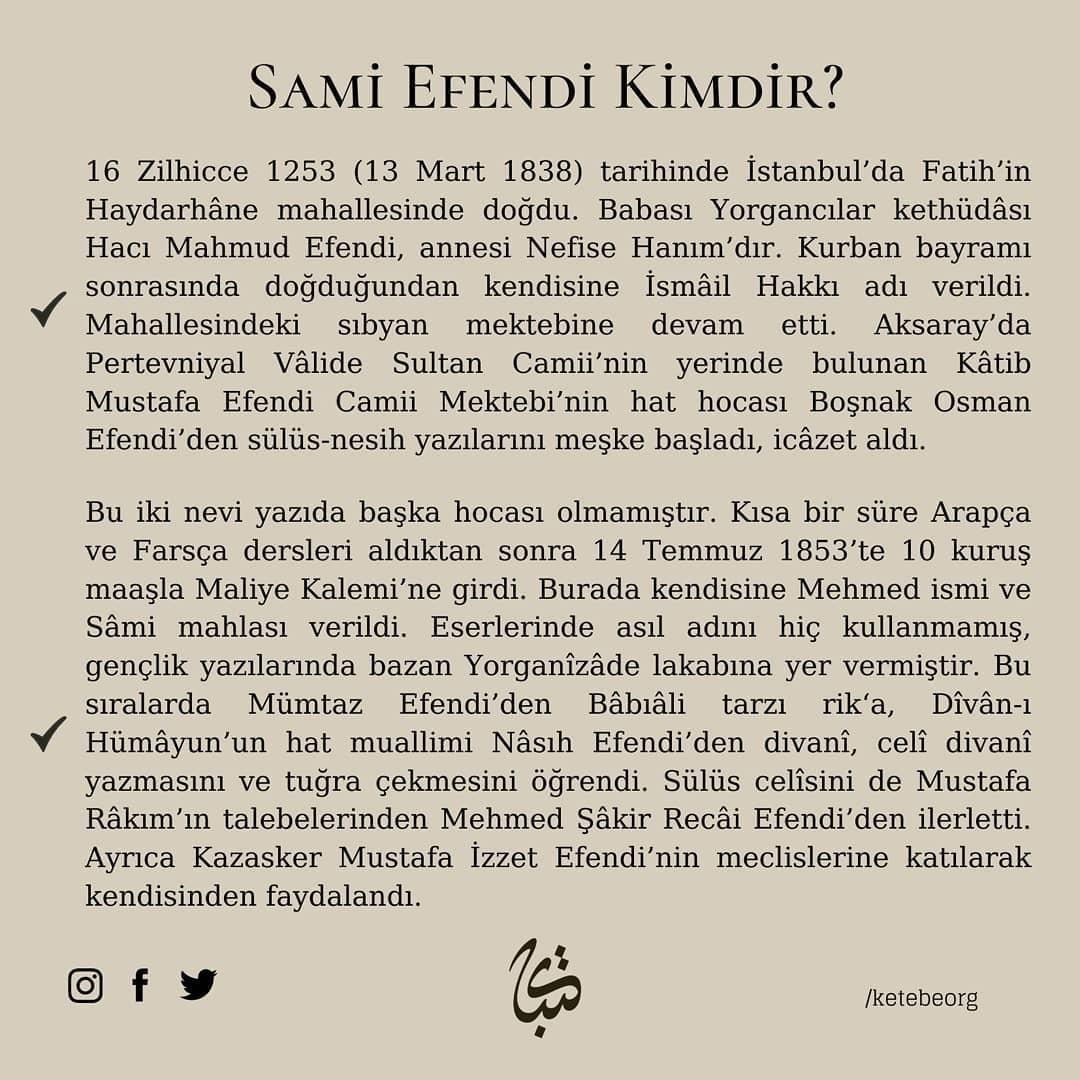 Apk Website For Arabic Calligraphy Vefatının 109. sene-i devriyesinde Hattat Sami Efendi'yi rahmet ve minnetle yâd ... 603 2