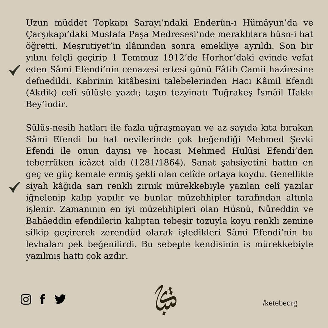 Apk Website For Arabic Calligraphy Vefatının 109. sene-i devriyesinde Hattat Sami Efendi'yi rahmet ve minnetle yâd ... 603 4
